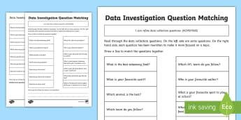 Data Investigation Question Match Activity Sheet  Australian