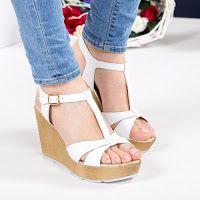 Sandale Piele Hanna Albe Cu Platforma Modlet Shoes Wedges Fashion