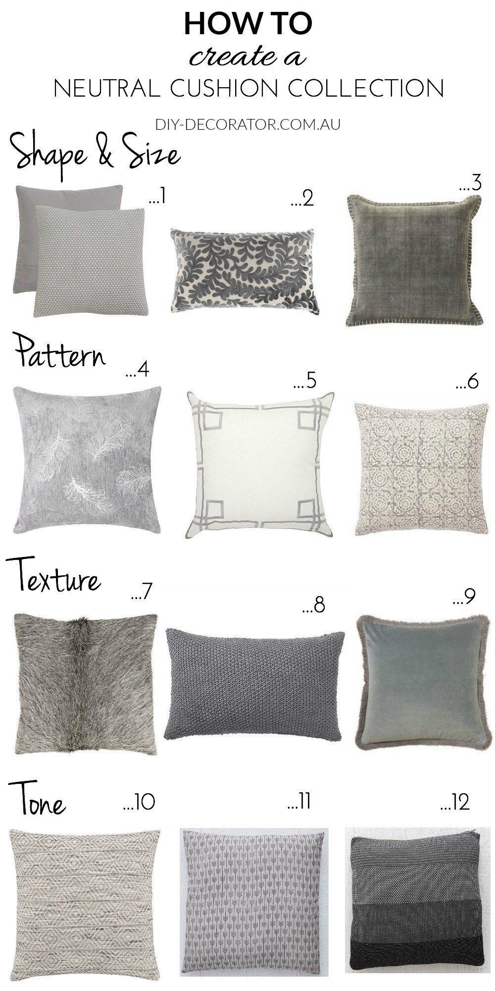 How To Create A Neutral Cushion Collection Diy Decorator Neutral Cushions Sofa Cushions Arrangement Cushions On Sofa