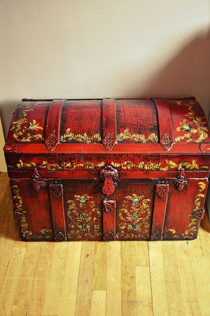 Pirate Treasure Trunk Painted Trunk Vintage Chest Hand Painted