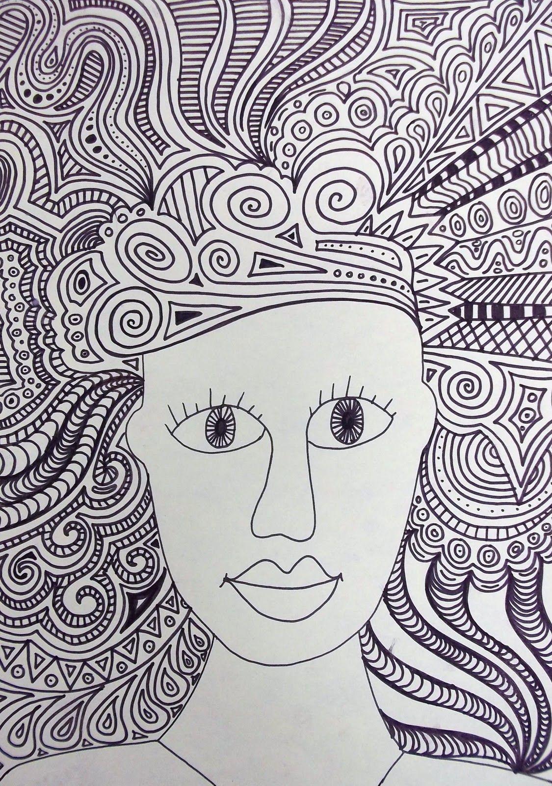 D Line Drawings Ideas : Crazy hair art lesson line quality teaching stuff