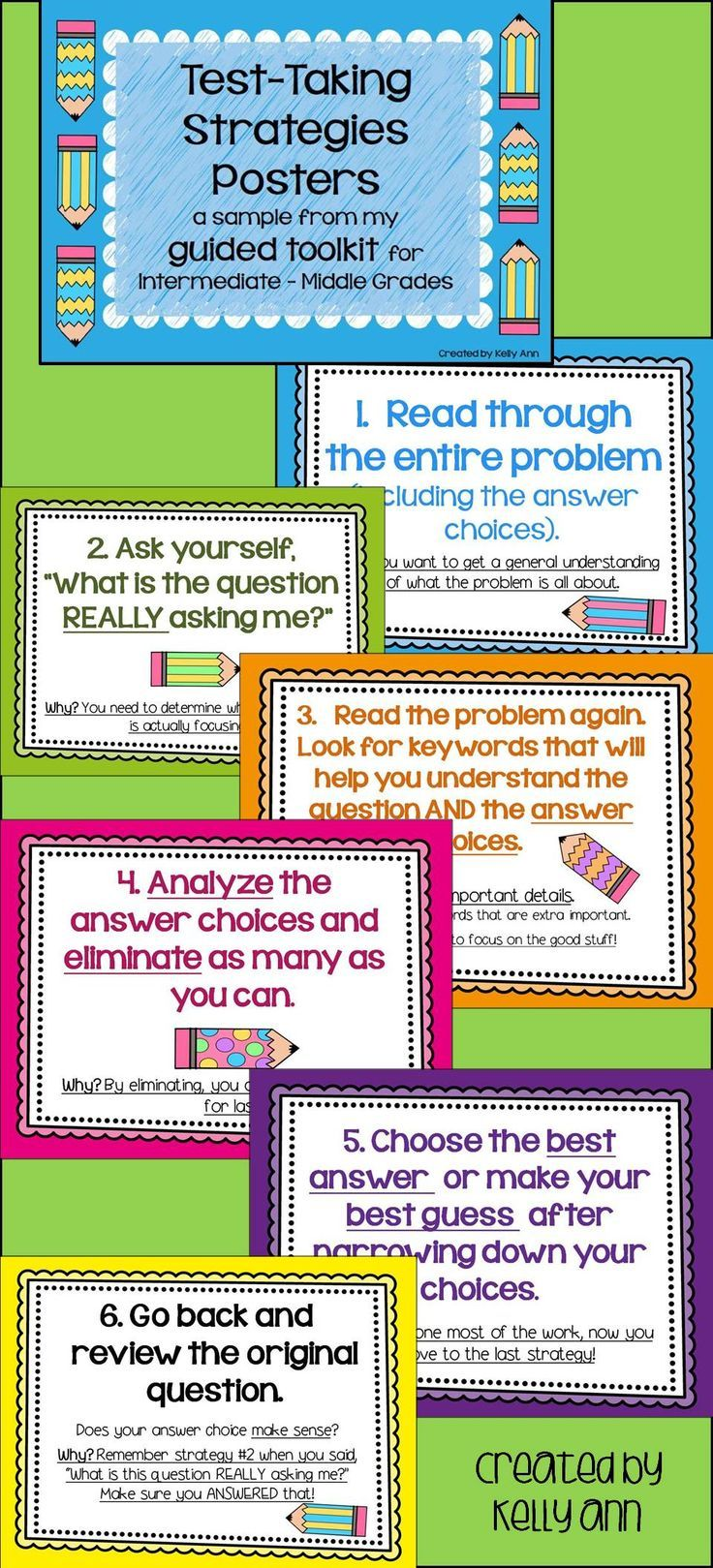 FREE TEST-TAKING STRATEGIES POSTERS for Intermediate-Middle grades ...
