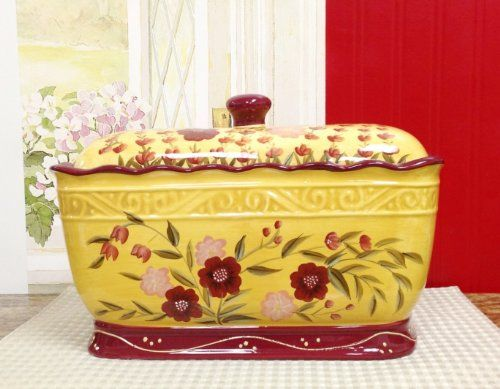1 X Floral Garden Hand Painted Toast Bread Box Jar 2015 Amazon Top Rated Bread Boxes Kitchen Ceramic Bread Box Jars For Sale Bread Boxes