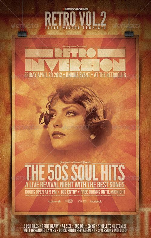 vintage retro flyer indie rock poster template free club party psd - retro flyer templates