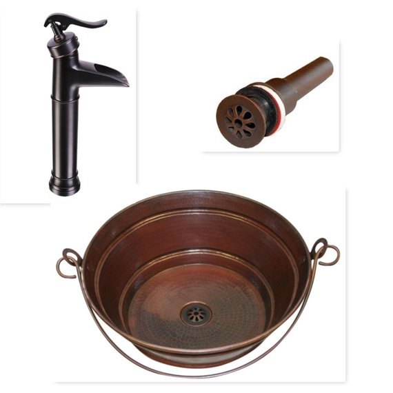 """15"""" Round Hand Hammered Copper Bucket Vessel Vanity Sink with ORB Faucet and Matching Daisy Drain"""