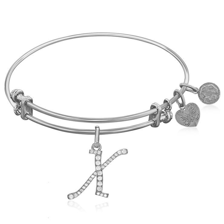 Expandable White Tone Brass Bangle with X Symbol with