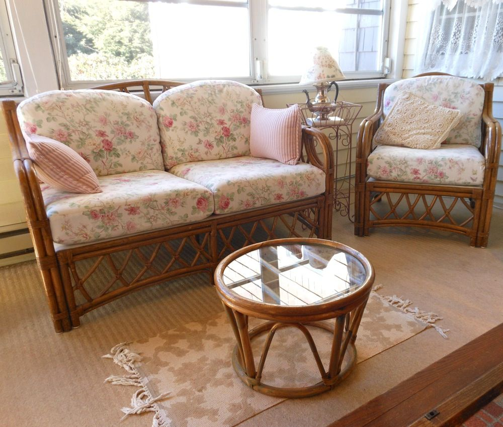 This Gorgeous Bamboo Furniture Set With Understated Floral Upholstery, Will  Brighten Up Any Room.