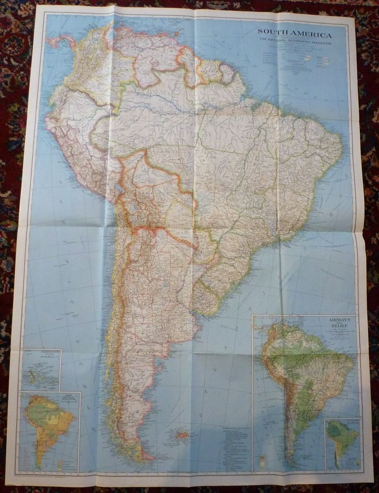 Vintage National Geographic South America Wall Map December 1937     Vintage National Geographic South America Wall Map December 1937    Antiques  Maps  Atlases   Globes  South America Maps   eBay