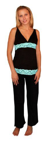 Nursing Multi Color Maternity Pajama Clip on Black Lace Sleeveless