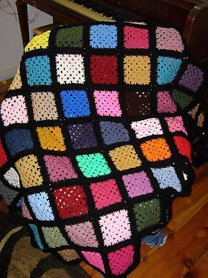 "Crocheted Handmade Afghan Blanket!  57"" x 76"" NEW, GRANNY SQUARE PATTERN"