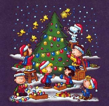 snoopy woodstock and friends and the rest of the peanuts gang decorating christmas tree