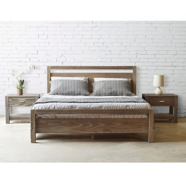 Bedroom Furniture Overstock grain wood furniture loft solid wood queen-size panel platform bed