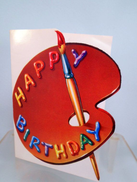 Vintage Birthday Greeting Card Artist Palette Painter With Images