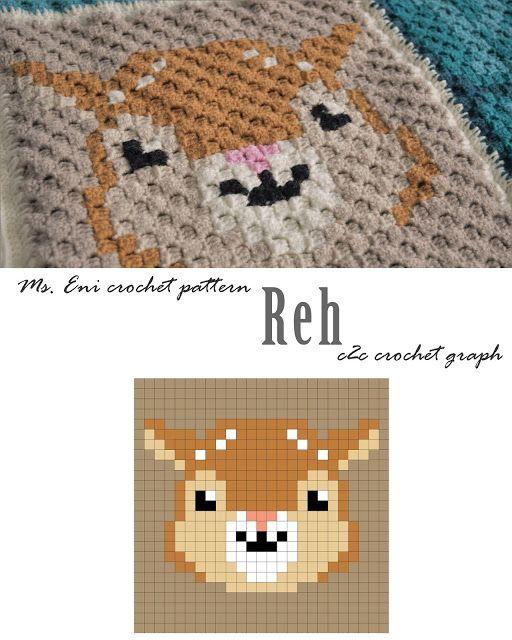 c2c crochet graph deer, fawn   Reh - Ms. Eni, pixel square   C2C ...