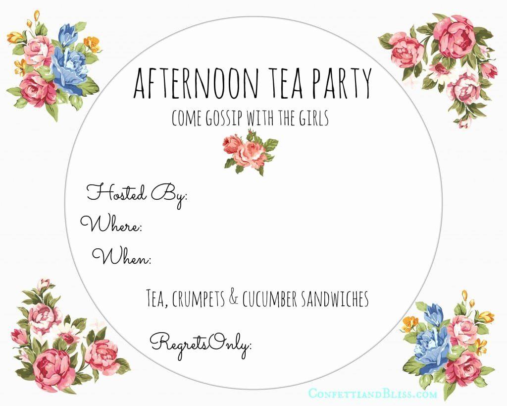 Tea Party Invitations Template Elegant Afternoon Tea Invitation Free Party Invite Template High Tea Invitations Tea Party Invitations