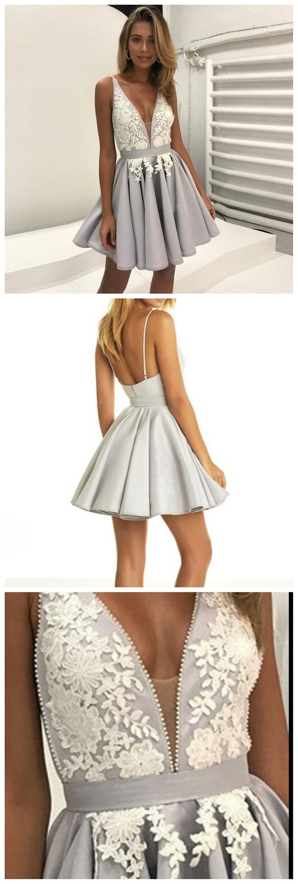 Gray v neckline lace short homecoming prom dresses cheap party prom