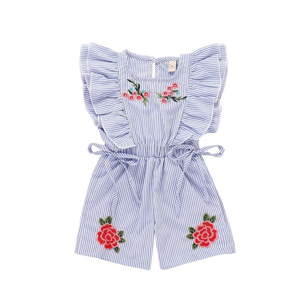 5ec8fac2635 2018 Fashion Cute Toddler Kids Baby Girl Flower Striped Ruffle Romper  Embroidery Flower Summer Blue Lace