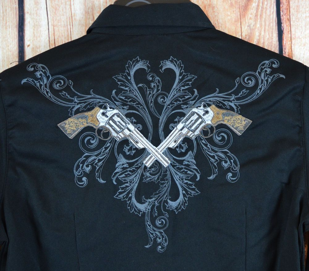 ROPER Old West PISTOLS GUNS Embroidery SHOW ARENA Western SHIRT COWGIRL NWT XS #Roper #Western