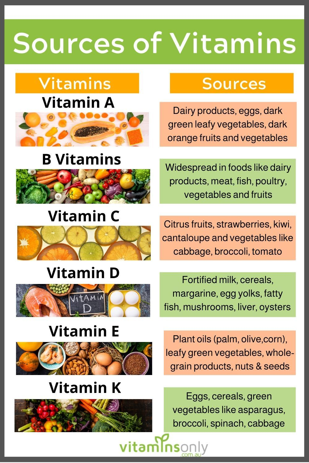 Food Sources of Vitamins