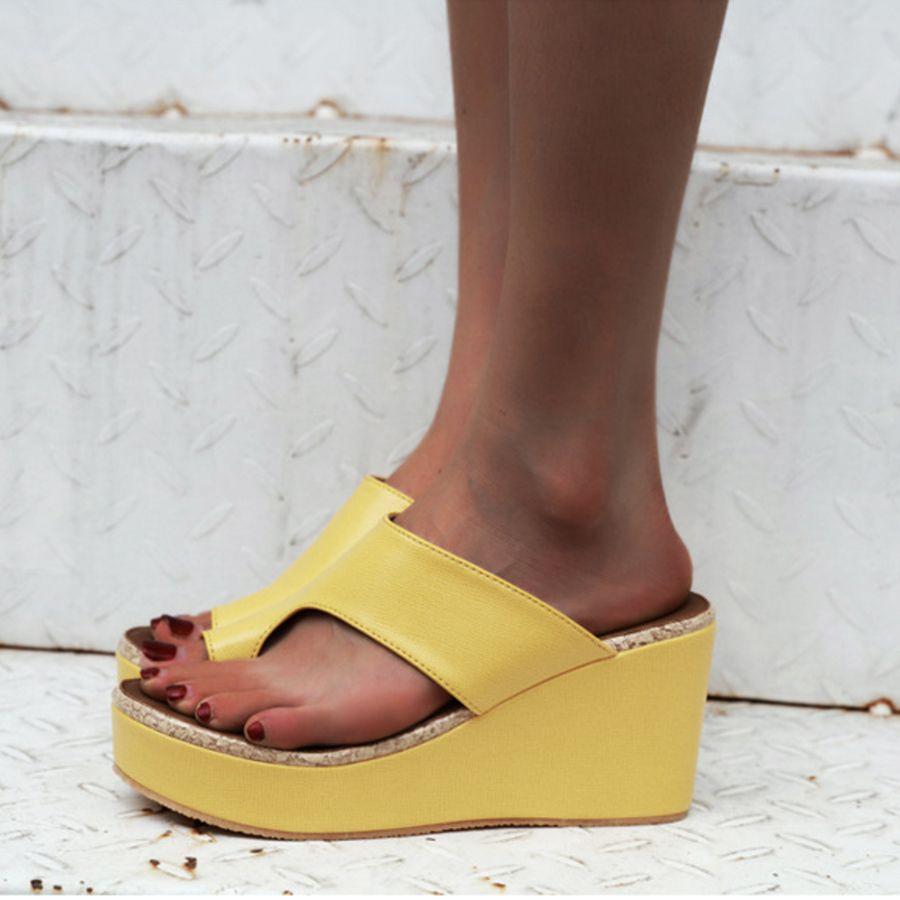 Plus Size Women Slipper Open Toe High Heels Solid Color Wedges Slides