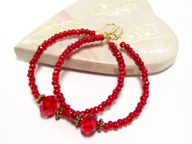 3ae0ed668aae2 Beaded Hoops - Red Crystal Hoop Earrings - Red Earrings | bisutería ...