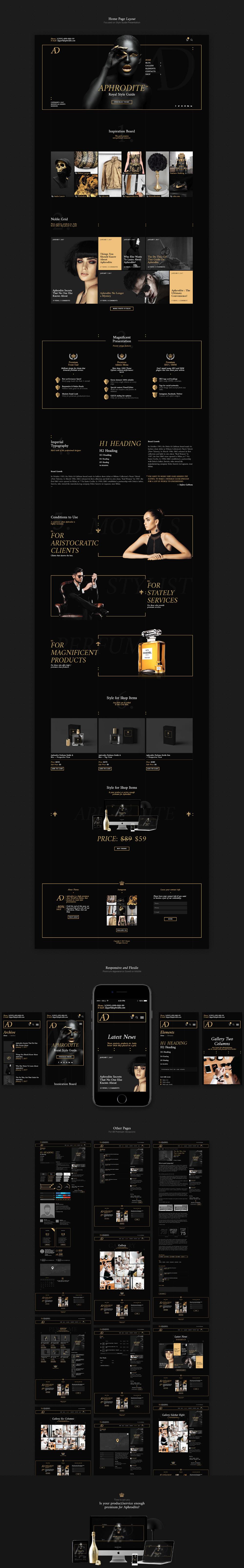 Aphrodite Luxury Wordpress Theme On Behance Wordpress Theme