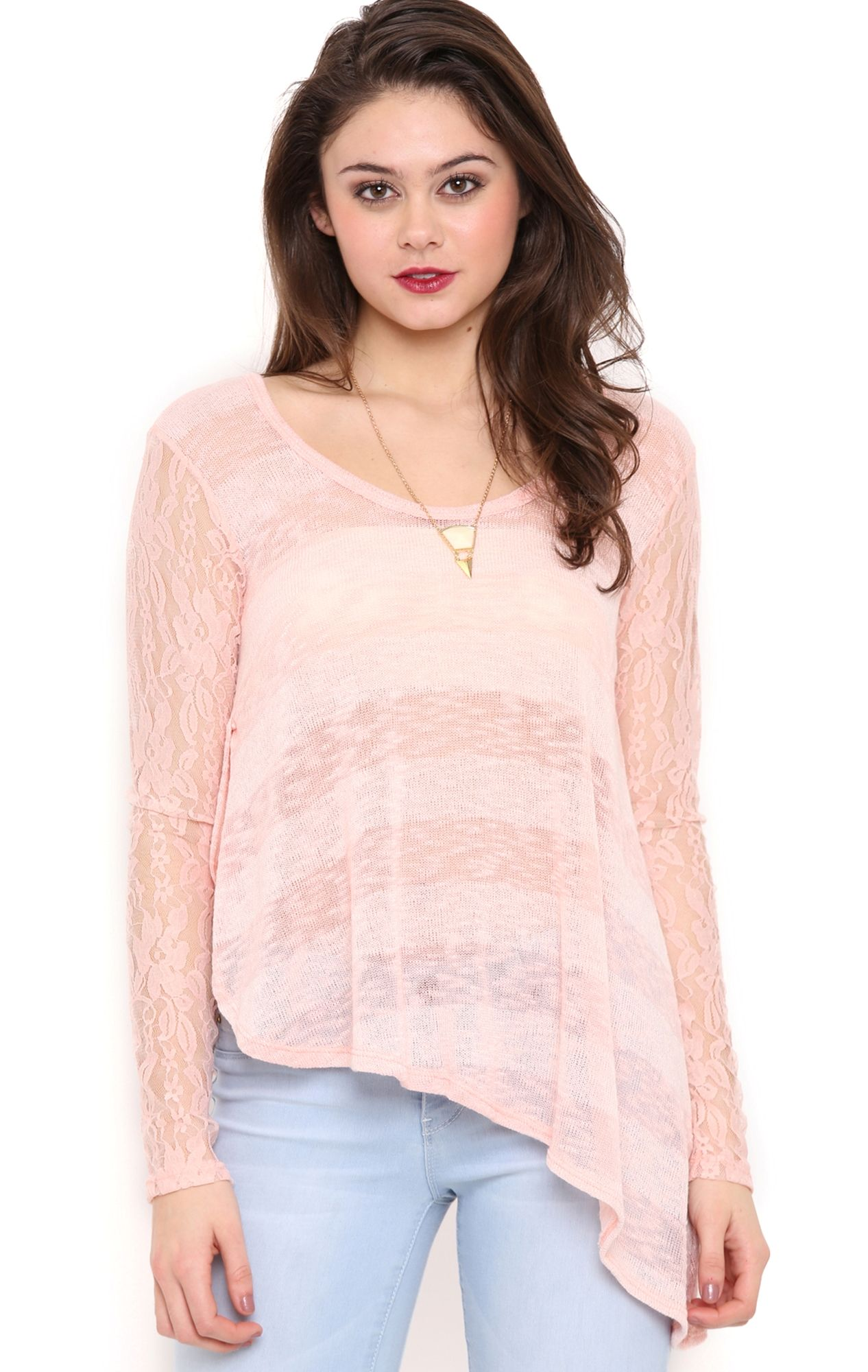 Long Lace Sleeve Burnout Stripe Top with Asymmetrical Hem Light Pink