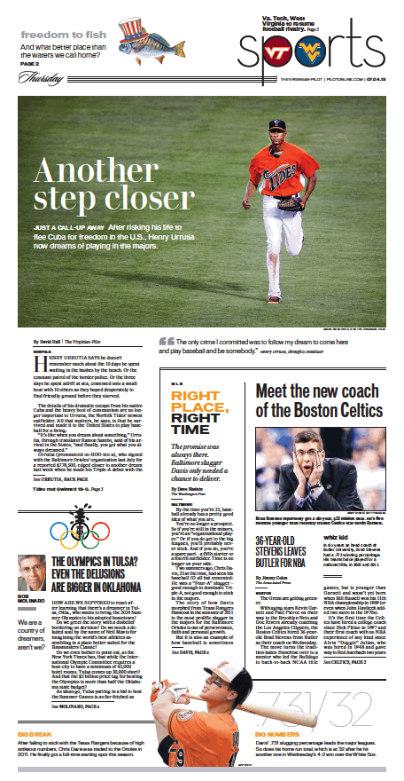 Sports, July 4, 2013. Sports design, Virginian pilot