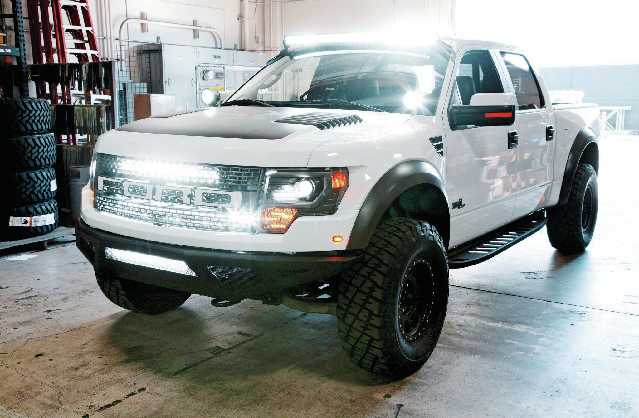 The 2013 ford f 150 svt raptor is still a gnarly truck ford we recently came across a raptor owner who hated low nighttime visibility so much he wanted to add four led lights so three single row led lightbar were mozeypictures Images