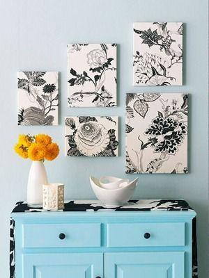 manualidad de cuadros decorados con tela estampada de hogar