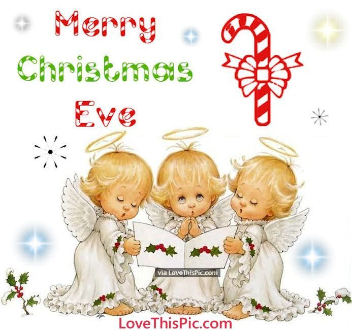 cute merry christmas eve quote with baby angels - Happy Christmas Eve Quotes