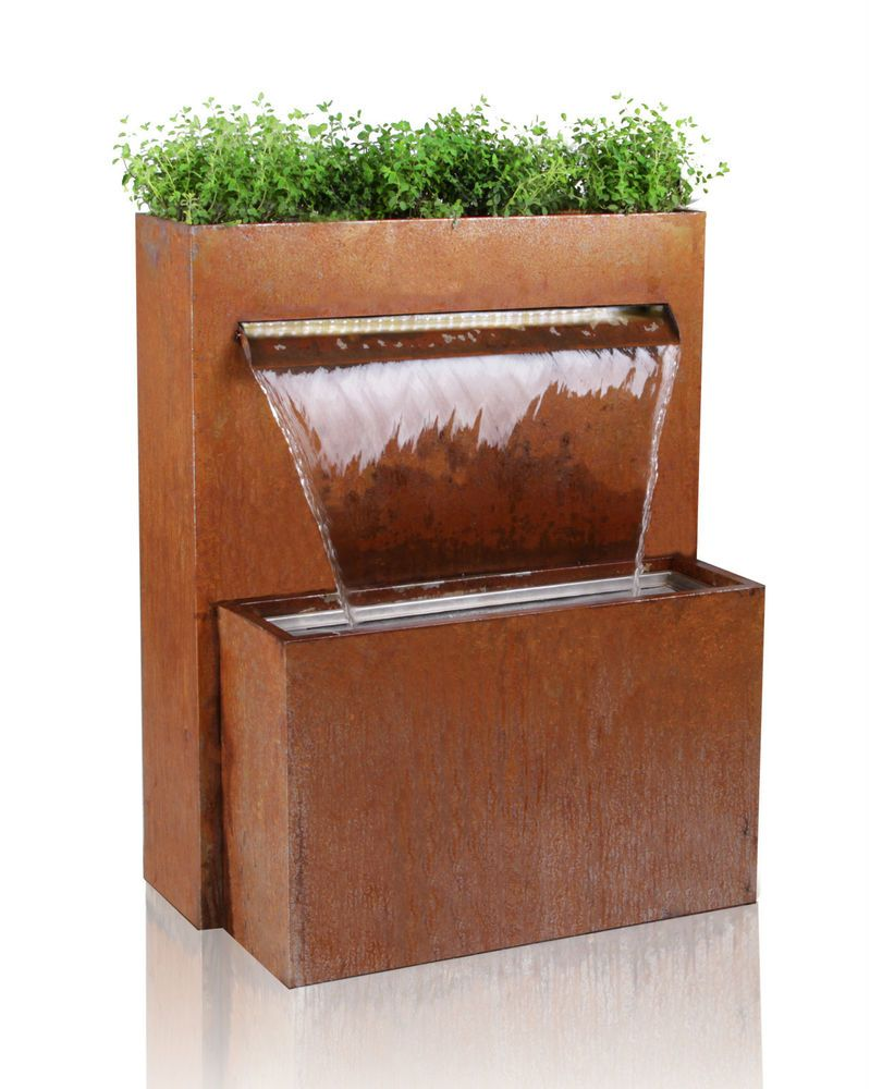 Bepflanzbarer Wasserfall Brunnen Cortenstahl LED Beleuchtung Kugel Garten  Zier