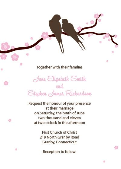 brown lovebirds and pink cherry blossoms free invitation | free, Wedding invitations