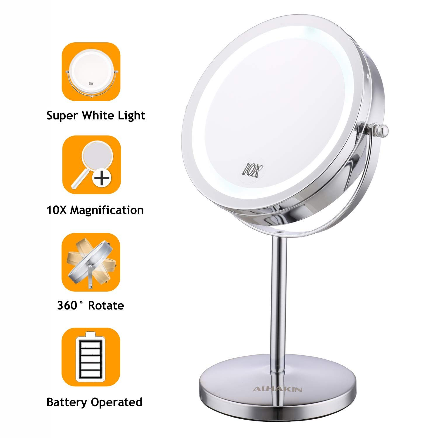 Lighted Makeup Mirror 7 Led Vanity Mirror 10x Magnifying Double Sided S Makeup Mirror With Lights Lighted Magnifying Makeup Mirror Wall Mounted Makeup Vanity