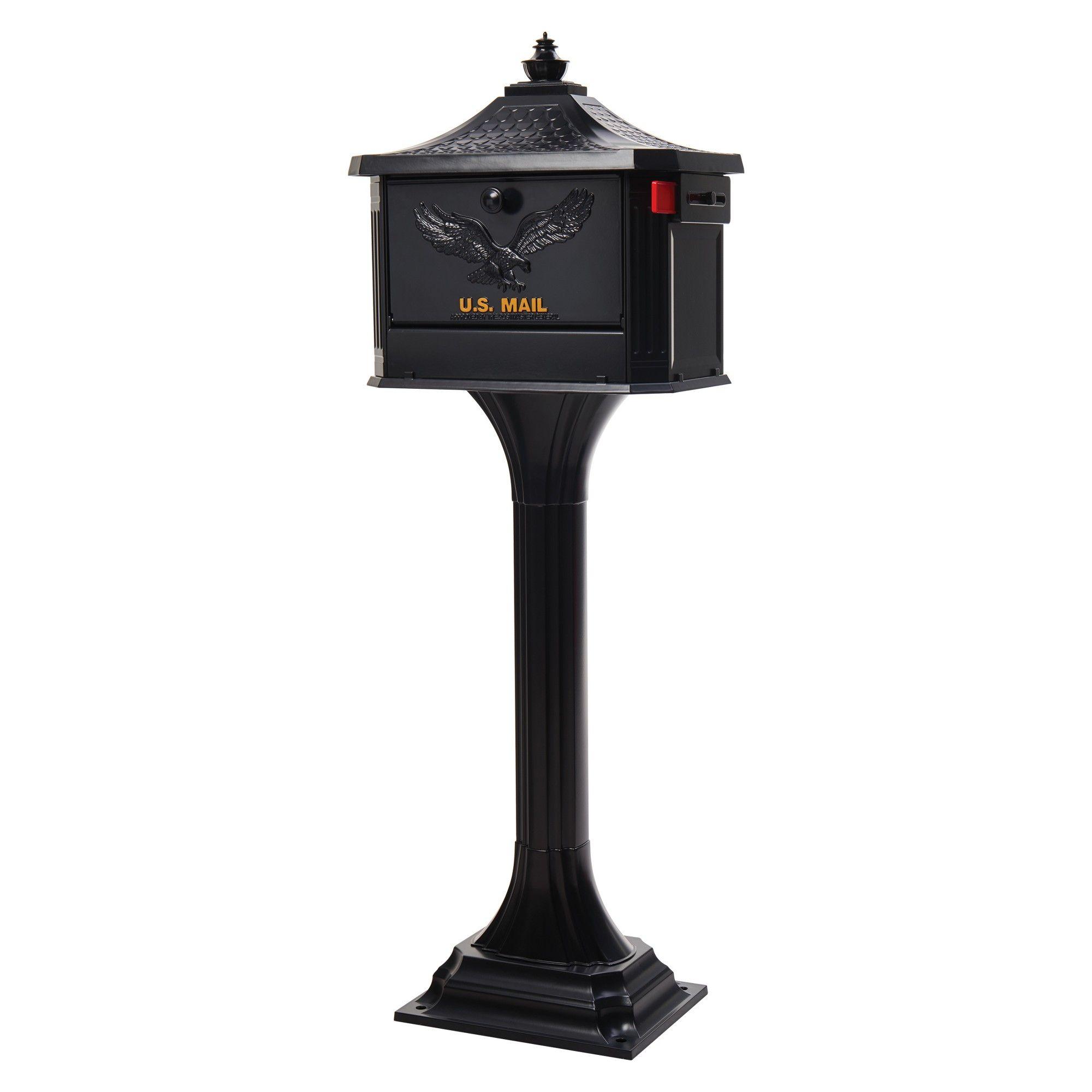 Postal Mailbox Post-Mount Single Door Front Heavy Duty Steel Powder Black