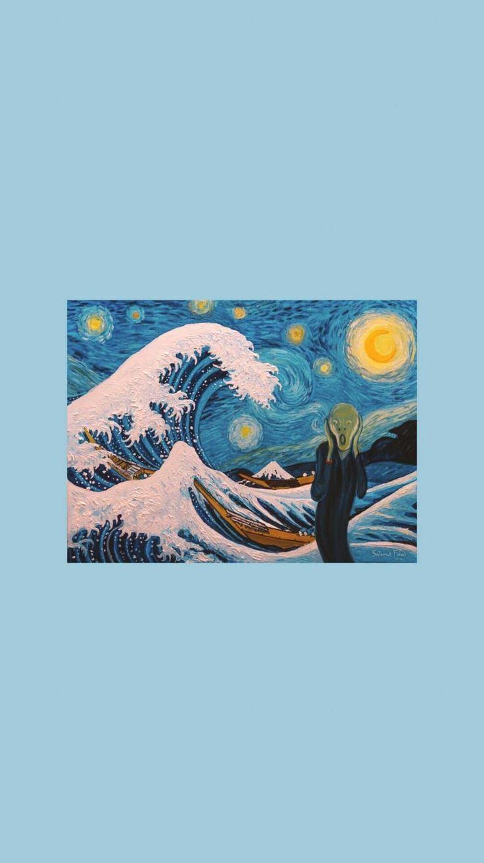 Great Wave Off Kanagawa Wallpaper Aesthetic Pesq Aesthetic Great Kanagawa Pesq Planodefundo Wall Kunst Hintergrund Kunstproduktion Van Gogh Tapete