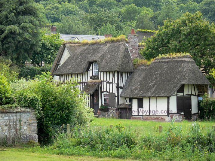 maison normande en torchis et toit de chaume France DOM