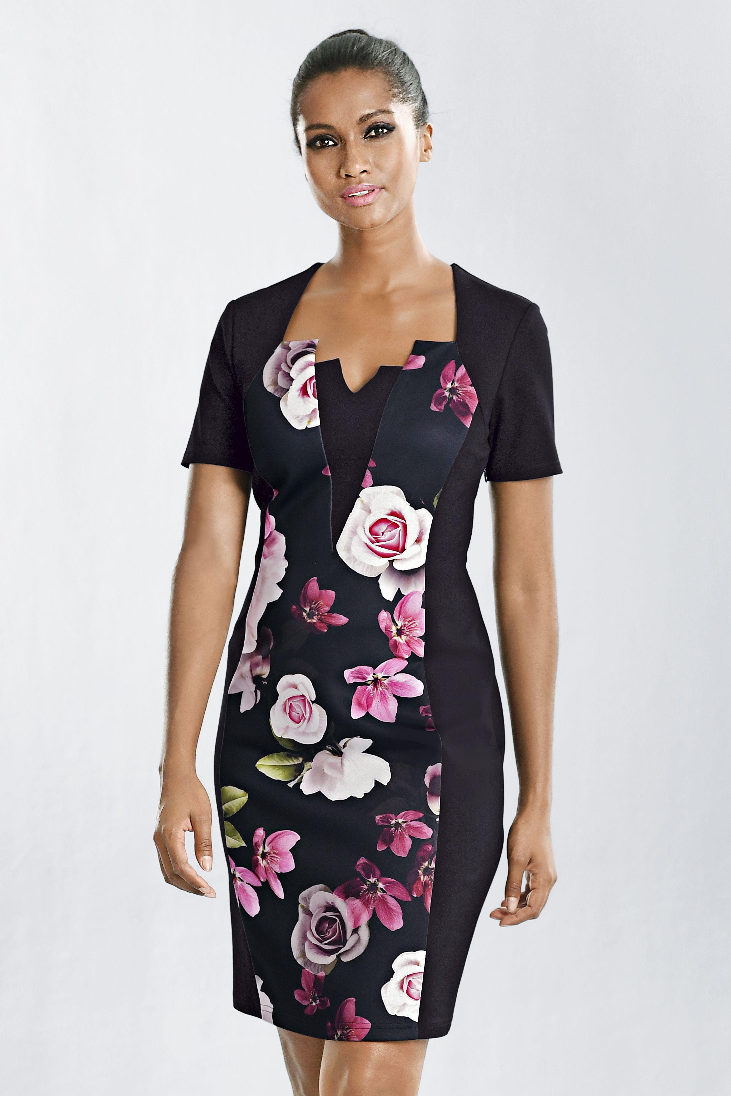 elegantes alba moda kleid in schwarz mit floralen einsätzen