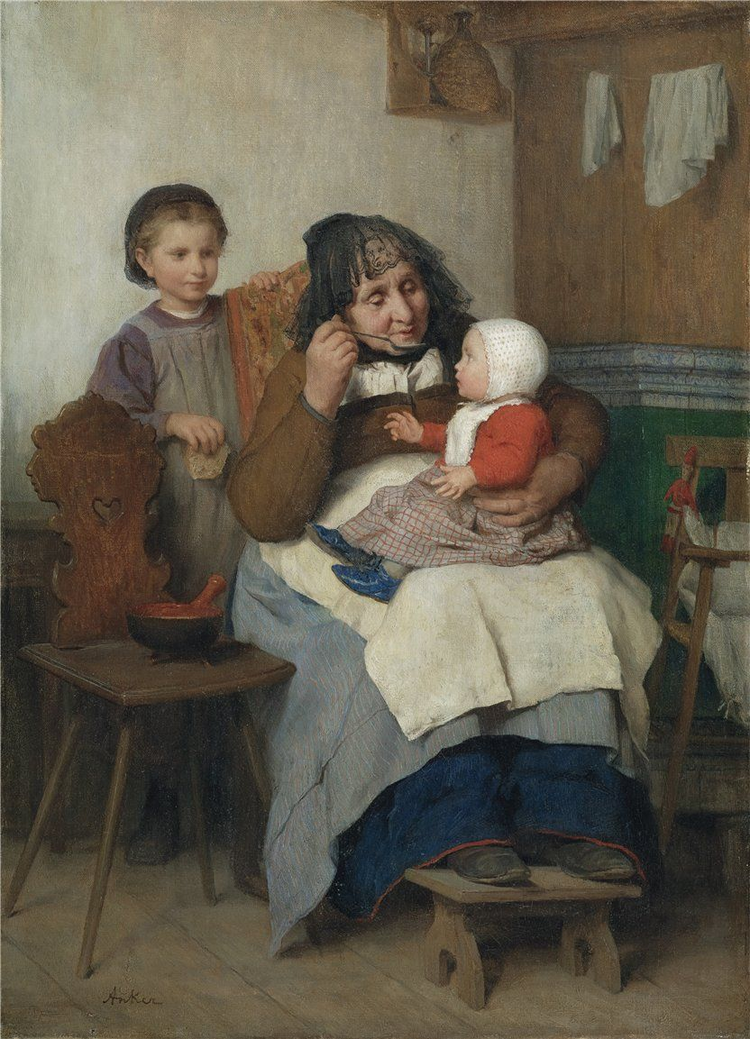 Albert Anker GROSSMUTTER, IHREM ENKELKIND DIE SUPPE GEBEND, 1868 GRANDMOTHER SPOONING THE SOUP TO HER GRANDCHILD