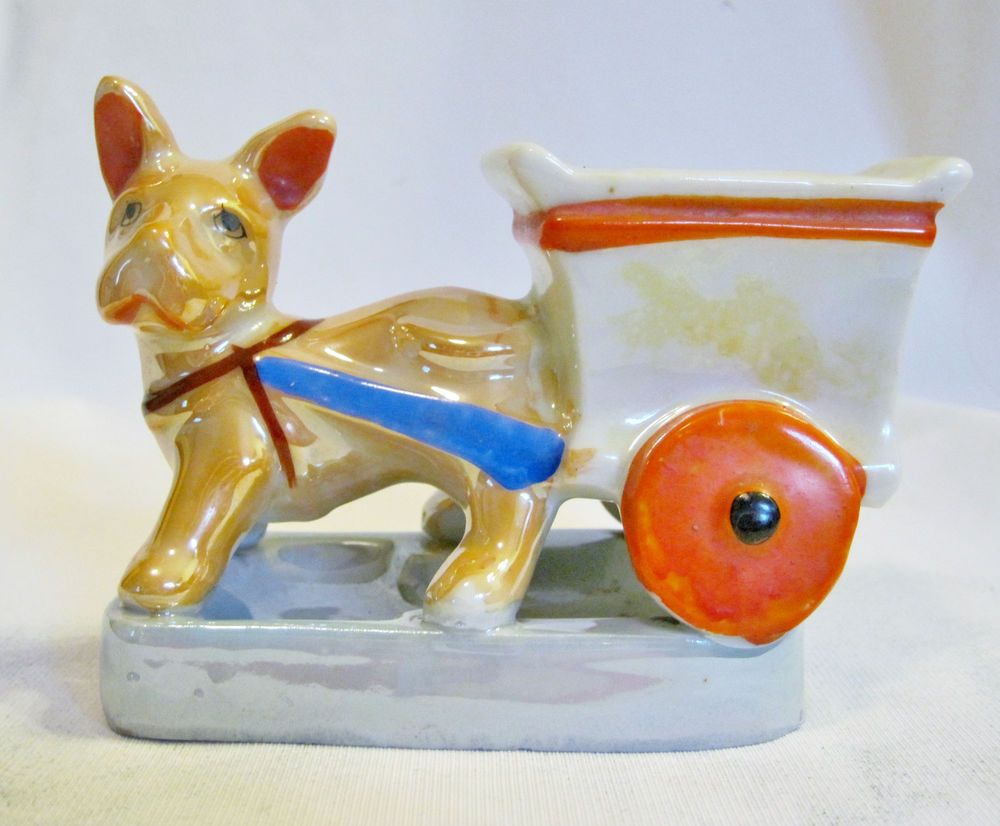 Vintage Japan Dog Pulling Cart Wagon Planter Vase Holder Ceramic Figure Figurine