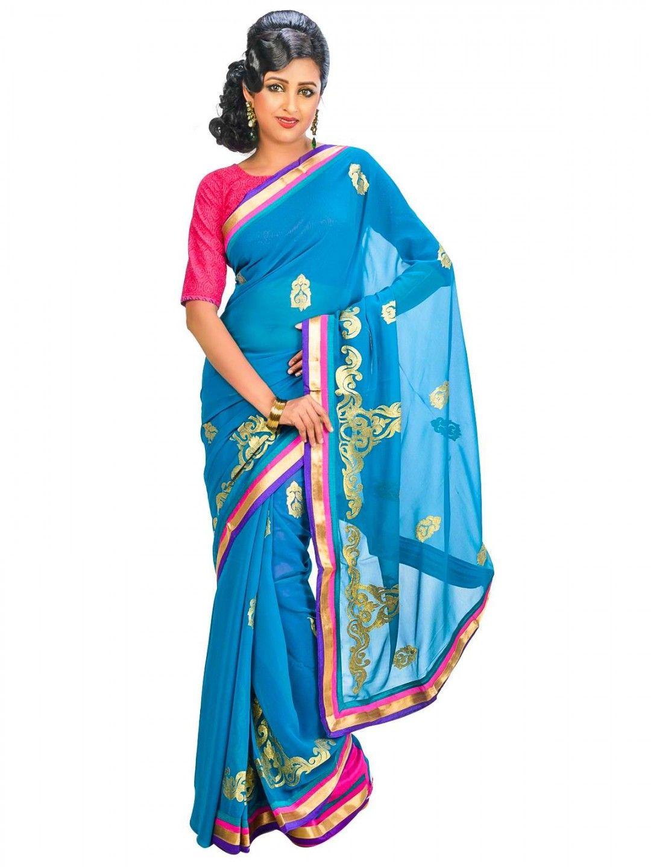 Women fashion saree ickdoorwomenethnicwearsareesblueregularwear