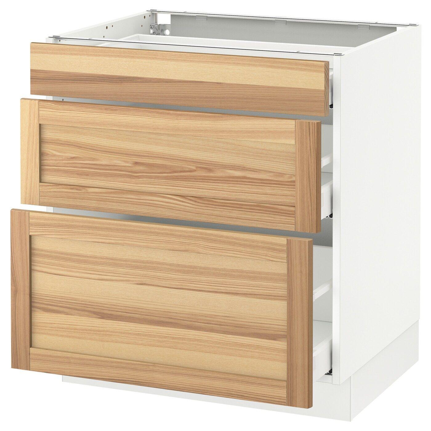 Sektion Base Cabinet With 3 Drawers White Maximera Torhamn Ash 30x24x30 Ikea In 2020 Base Cabinets Ikea Drawers
