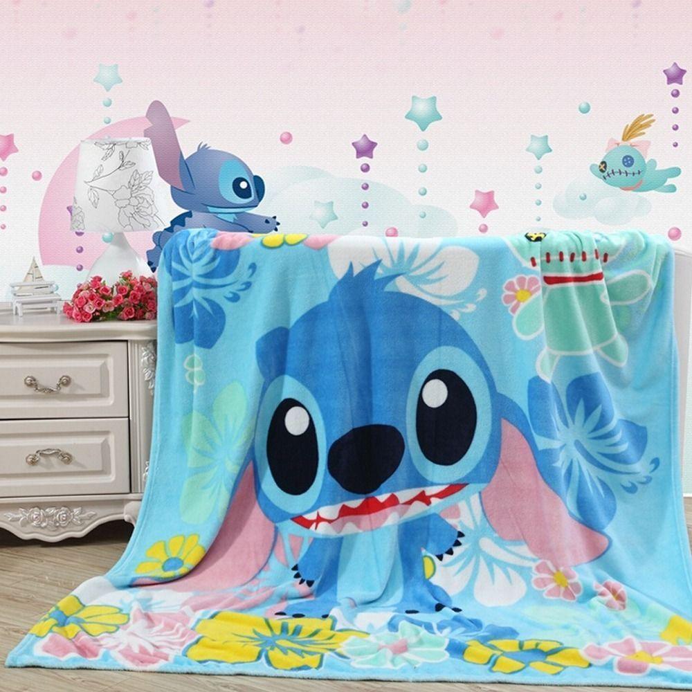 Flannel fleece blanket  Cute Disney LILO STITCH Plush Soft Silky Flannel Blanket Throw