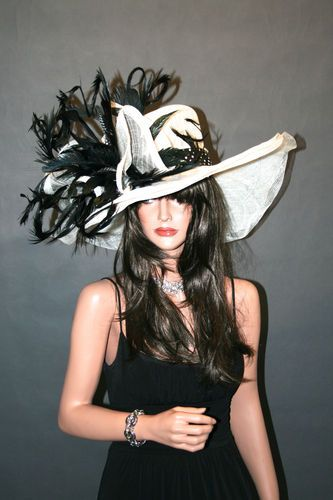 New Church Kentucky Derby Hat Sinamay Black Off White Formal Sinamay | eBay