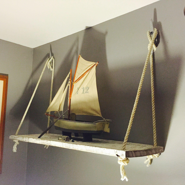Rustic nautical barn wood rope boat cleat wall shelf Diy