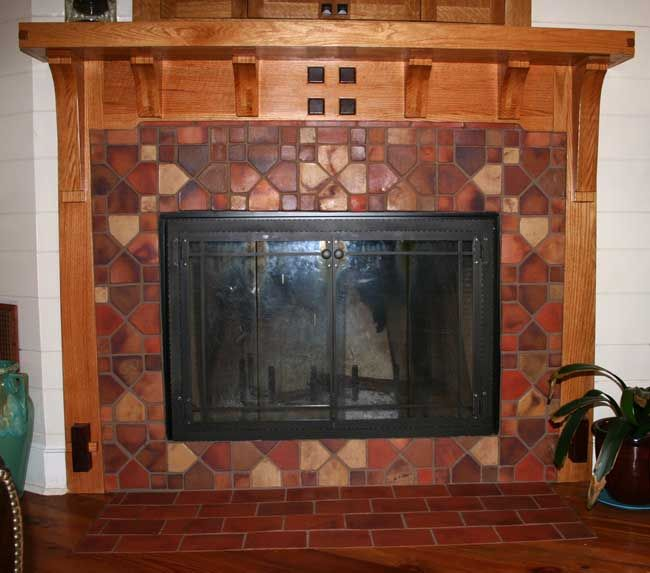 Craftsman fireplace tile surround 1890 1930 reproduction for Craftsman fireplace pictures