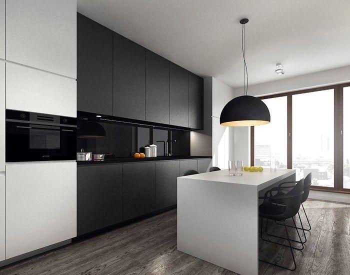 Cocina negra con suelo madera buscar con google cocina - Suelo madera cocina ...