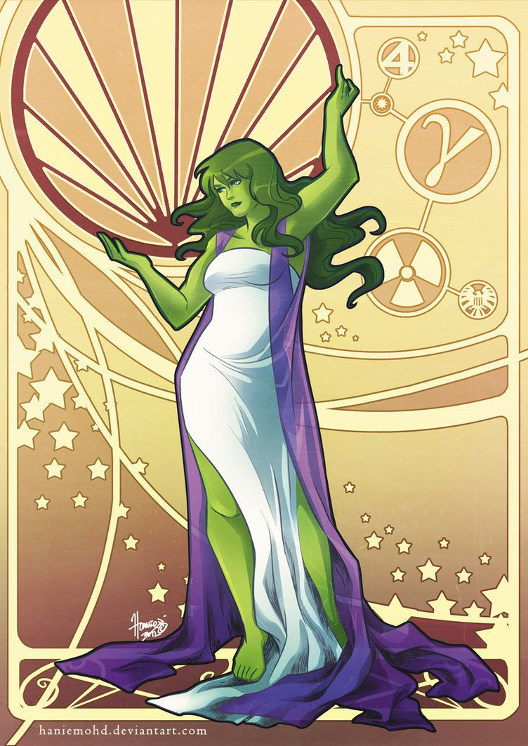 The women of Marvel wear their flowing, formal costume attire