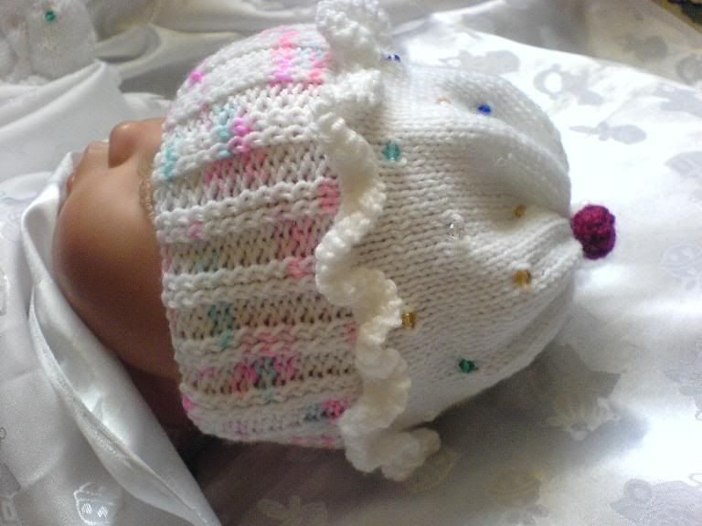 Knitted Cupcake Hat Pattern Free : Knitting Pattern #61 (NOT THE KNITTED ITEM) Cupcake Hat Set for Baby/Reborn ...