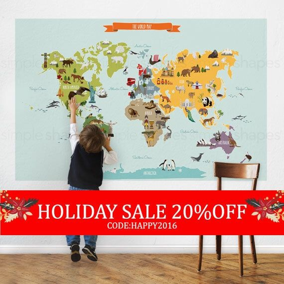 World Map - Peel and Stick Poster Sticker by SimpleShapes on Etsy https://www.etsy.com/listing/171798129/world-map-peel-and-stick-poster-sticker